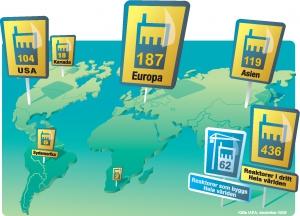 Kärnkraftverk i drift och under uppförande i världen. Data tagna från IAEAs PRIS-databas, data från 2012.